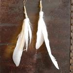 feather and felted earrings with gold wiring  wire and length can be changed $25