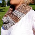 round scarf brown and gray stripe  starts at $22