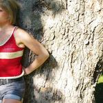 knitted cotton red and white tank starts at $35