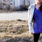 Hand dyed and woven gradated motorcycle jacket with exposed zipper. Hand dyed purple t-shirt dress. only one- size 4 $100
