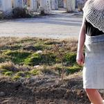 Hand dyed and woven wool and tencel high waisted skirt  only 1 size 8 $100