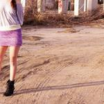 hand knit and dyed purple cotton and wool band mini skirt  Can change color, size, length and fit Starts at $40